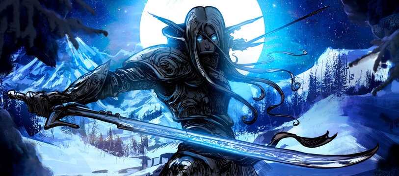 A handsome elf warrior with two curved blades stands against the backdrop of a huge winter moon, ready for battle, his eyes glowing with blue magical light. 2D illustration.
