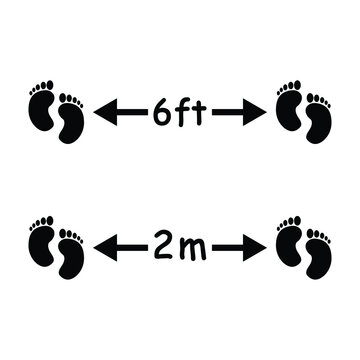 Social Distancing 6 ft and 2m footprints feet Icon. Black and White Floor Ground Marking Icon Depicting Physical Distance of Six Feet and Two Meters During Pandemic Outbreak to Prevent Virus. EPS Vect