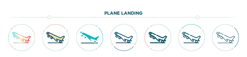plane landing icon designed in gradient, filled, two color, thin line and outline style. vector illustration of plane landing vector icons. can be used for mobile, ui, web
