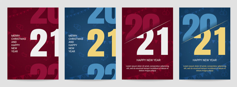 Cover for 2021 with wishes. Design for business promotion, banner or print.Trendy vector illustration for web and print. All ojbjects are isolated.