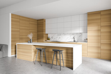 Photo sur Toile Les Textures White and wooden kitchen with bar and sofa