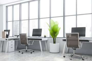 Panoramic white open space office corner