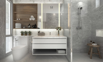 Modern cozy bathroom and restroom mock up interior design and marble wall background