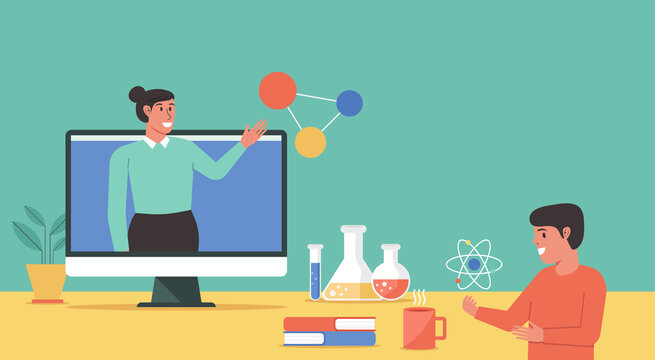 online science class, online education concept, distance learning from home, female teacher connecting to student via video call on computer, vector flat illustration