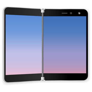 tablet device dual screen realistic design. microsoft surface duo