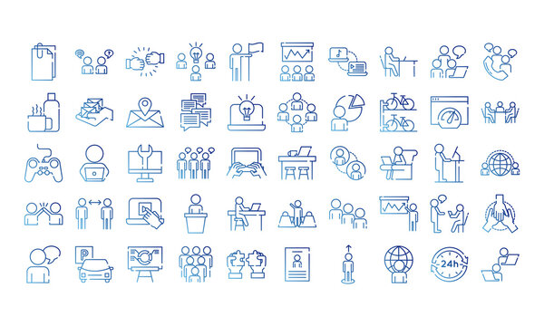 bundle of fifty coworking set gradient style icons