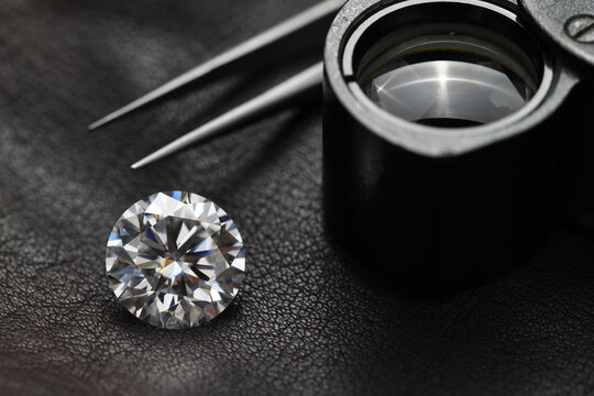 Diamond on jeweler table