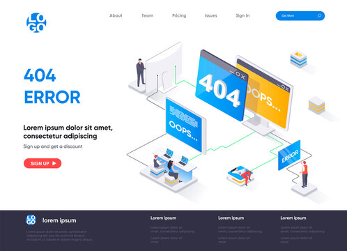 404 error isometric landing page design. Web page not found isometry concept. System updates, internet disconnect, site undergoing maintenance flat design. Vector illustration with people characters.