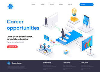 Career opportunities isometric landing page. Professional career path, opportunity for high skilled specialist isometry. Motivation and leadership web page. Vector illustration with people characters.