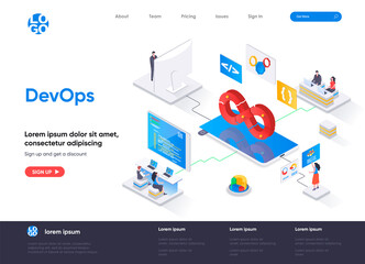 DevOps isometric landing page. Development operations, administration and monitoring isometry concept. Programming and engineering service flat web page. Vector illustration with people characters.