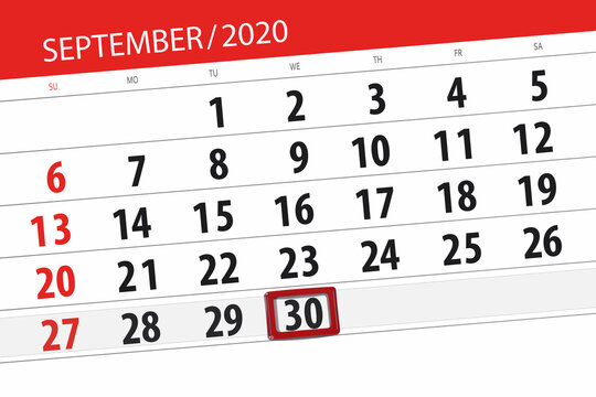 Calendar planner for the month september 2020, deadline day, 30, wednesday