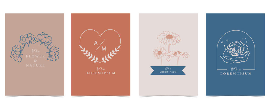 Collection of flower background set with flower, rose,sunflower.Editable vector illustration for website, invitation,postcard and sticker