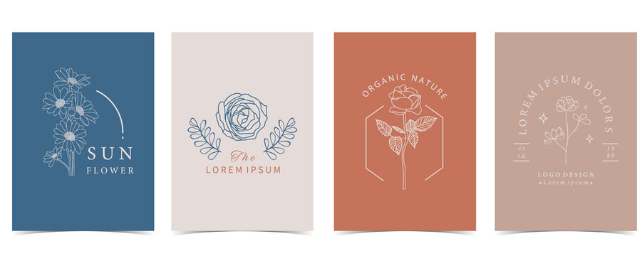Collection of flower background set with flower, rose,shape.Editable vector illustration for website, invitation,postcard and sticker