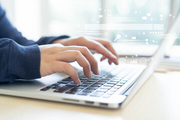 close up woman hand type on keyboard laptop to use search engine optimization (SEO) tools for finding customer or promote and advertise about content online for marketing technology and business