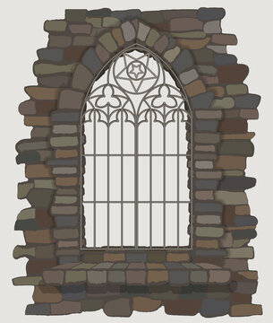 Ornate gothic window a stone wall. vector illustration