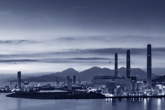 Power plant in Hong Kong city at dusk