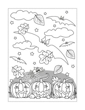 Coloring page with Halloween bats fly above the pumpkin field