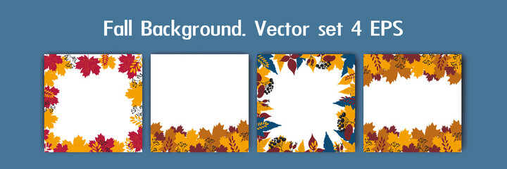 Fall backgrounds , frame set, autumn  vector set. Collection of hand drawn autumn elements for design, space for text