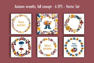 Autumn wreaths, fall concept vector set. Collection of hand drawn autumn elements for design