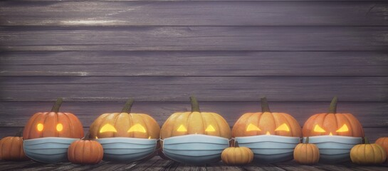 Halloween concept with corona virus prevention. 3D images of a jack-o-lantern with a mask on it.