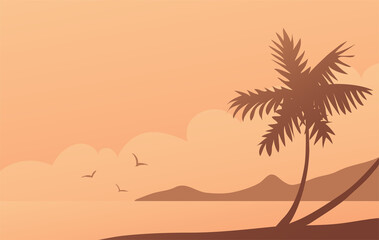 Seashore with tropical palm silhouette. Beautiful evening landscape on the beach. Banner with place for text. Vector illustration. Wall mural