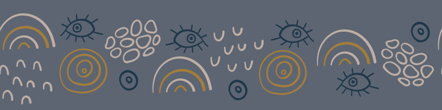 Seamless horizontal border with abstract hand drawn shapes on dark gray background. Vector illustration.