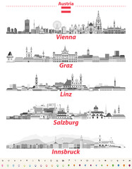 Fototapete - Austria cities panoramic cityscapes vector illustrations in black and white color palette