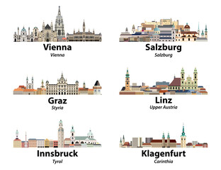 Fototapete - Austria main cities skylines vector isolated icons
