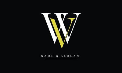 WV, VW, W, V Abstract letters logo monogram