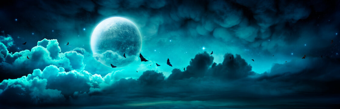 Halloween Night - Spooky Moon In Cloudy Sky With Bats