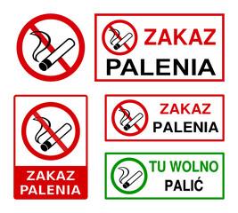 Fototapeta znaki zakaz palenia, tu wolno palić obraz