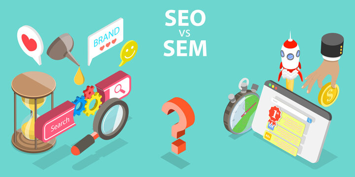 SEO vs SEM, Difference between Search Engine Optimization and Search Engine Marketing, Digital Marketing Terms and Definitions.