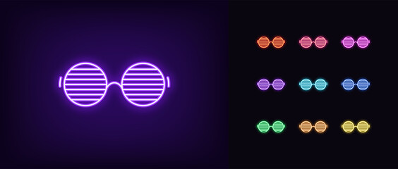 Neon men glasses icon. Glowing neon sunglasses with round shapes, vivid eyewear