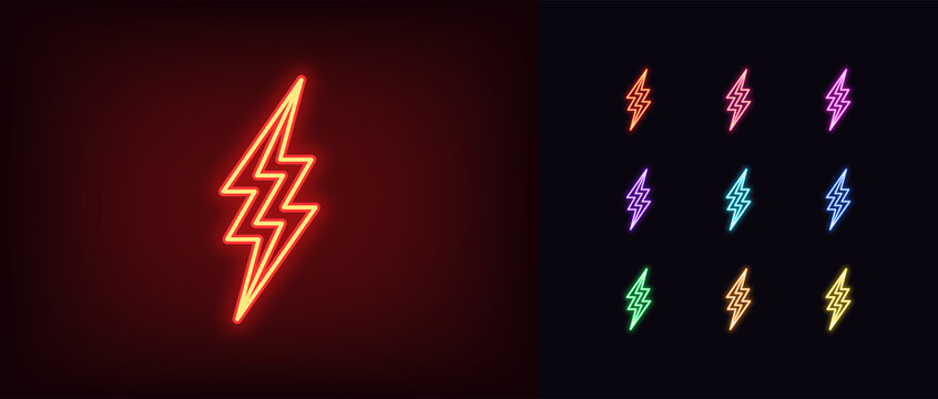 Neon lightning icon. Glowing neon thunderbolt sign, electrical storm