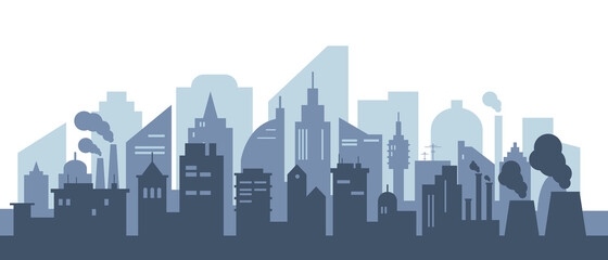 Silhouette of modern city with skyscrapers and factories