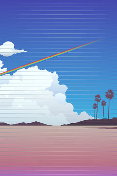 Beach / mountain landscape and rainbow across the sky background template with light scanline effect, nostalgic 80s -90s style inspiration retro summer vibe illustration