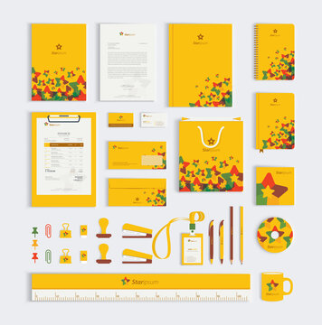 Yellow corporate business stationery set template mockup design