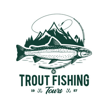 Vector fishing logo with trout fish, fishing rod, line, hook, and mountains. Fishing tournament, tour, and camp illustrations