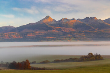 High Tatras at sunrise in autumn time, Slovakia