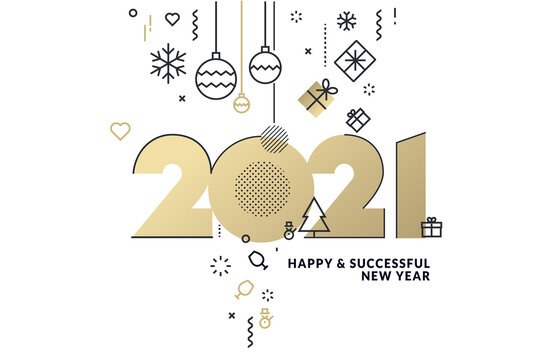 Happy New Year 2021 business greeting card. Modern vector illustration concept for background, greeting card, website banner, party invitation card, social media banner, marketing material.