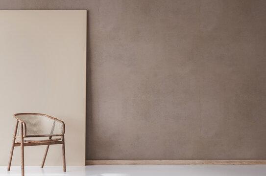 Mock up in stylish interior background, living room, Scandinavian style, 3d render