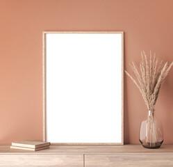 mock up poster frame in modern interior orange background, living room, Scandinavian style, 3D render