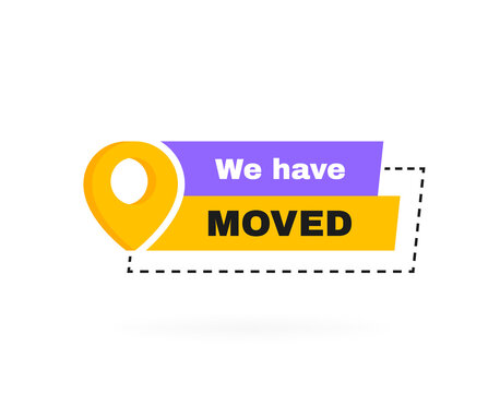 We have moved geometric badge with map pin. Vector illustration