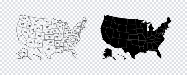 USA map states. Vector line design. High detailed USA map. Labeled with postal abbreviatations. Stock vector.