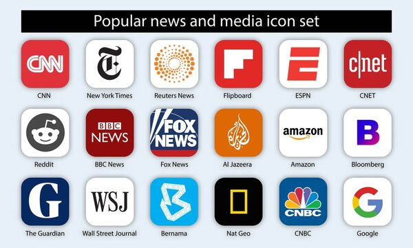 Set of popular news and media icon for editorial use. Vector illustration.