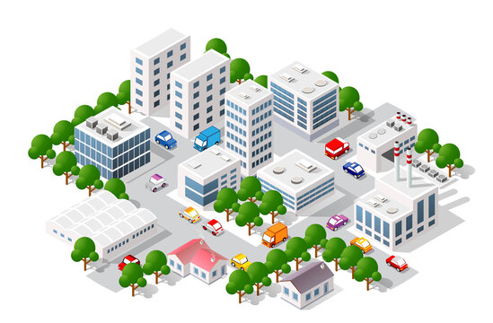 Isometric view of the city. Collection of houses 3D