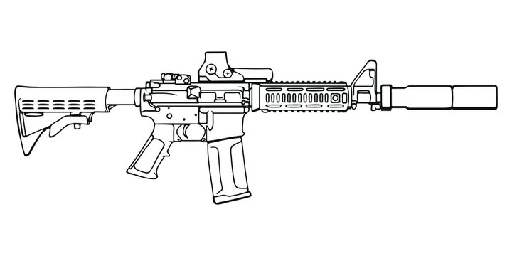 American M4 assault rifle with reflector sight and silencer. Vector Outline Illustration