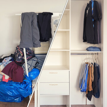 A niche in the wall with a bunch of clothes before installing the cabinet. Built-in wardrobe with things after installation