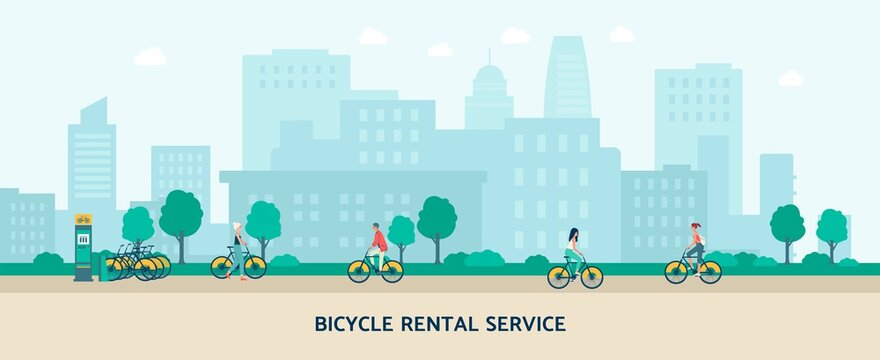 Bicycle rental service banner with people riding bikes in city park