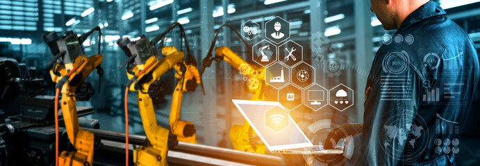 Smart industry robot arms for digital factory production technology showing automation...